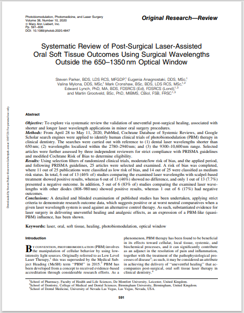 Systematic Review of Post-Surgical Laser-Assisted Oral Soft Tissue Outcomes Using Surgical Wavelengths Outside the 650–1350 nm Optical Window