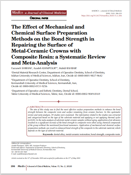 The Effect of Mechanical and Chemical Surface Preparation Methods on the Bond Strength in Repairing the Surface of Metal-Ceramic Crowns with Composite Resin: a Systematic Review and Meta-Analysis