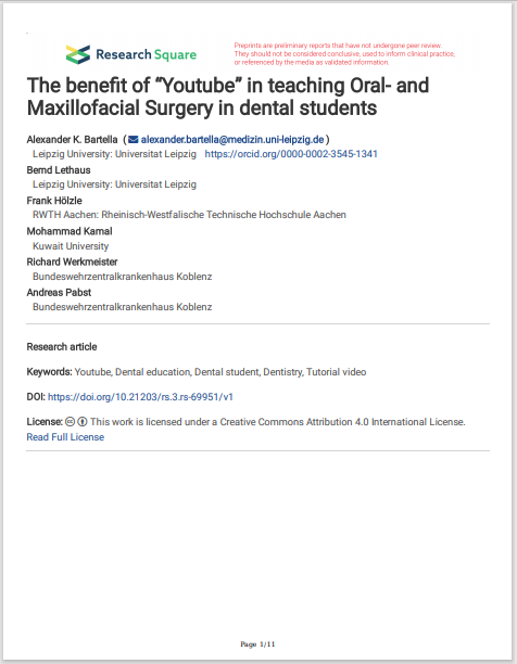 """The benet of """"Youtube"""" in teaching Oral- and Maxillofacial Surgery in dental students"""