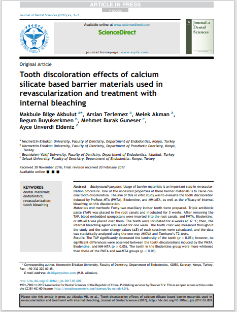 Tooth discoloration effects of calcium silicate based barrier materials used in revascularization and treatment with internal bleaching