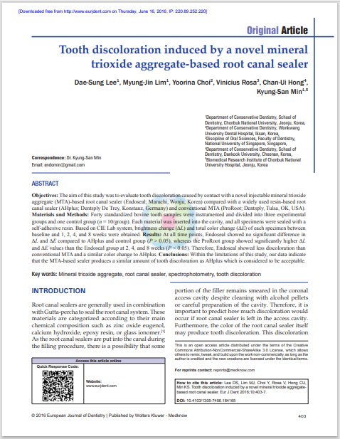 Tooth discoloration induced by a novel mineral trioxide aggregate-based root canal sealer