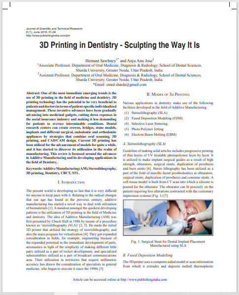 3D Printing in Dentistry - Sculpting the Way It Is