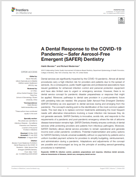 A Dental Response to the COVID-19 Pandemic—Safer Aerosol-Free Emergent (SAFER) Dentistry