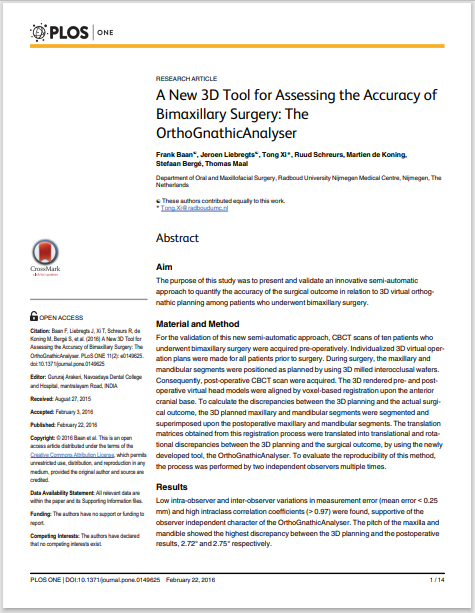 A New 3D Tool for Assessing the Accuracy of Bimaxillary Surgery: The OrthoGnathicAnalyser