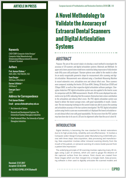 A Novel Methodology to Validate the Accuracy of Extraoral Dental Scanners and Digital Articulation Systems