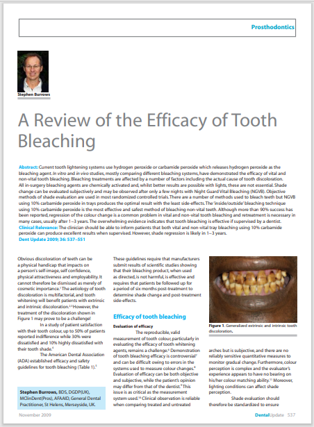 A Review of the Efficacy of Tooth Bleaching