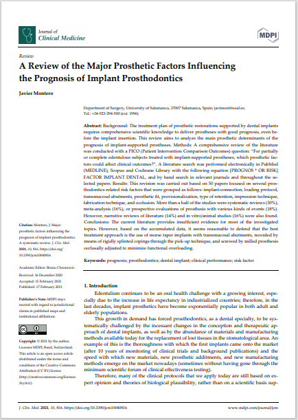 A Review of the Major Prosthetic Factors Influencing the Prognosis of Implant Prosthodontics