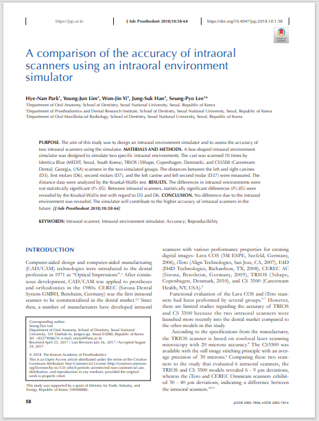A comparison of the accuracy of intraoral scanners using an intraoral environment simulator