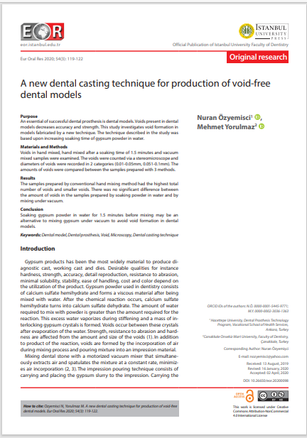 A new dental casting technique for production of void-free dental models