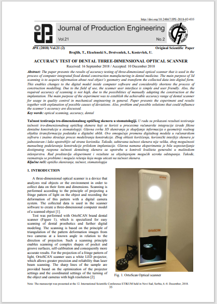 ACCURACY TEST OF DENTAL THREE-DIMENSIONAL OPTICAL SCANNER