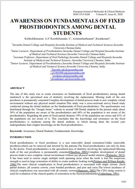 AWARENESS ON FUNDAMENTALS OF FIXED PROSTHODONTICS AMONG DENTAL STUDENTS