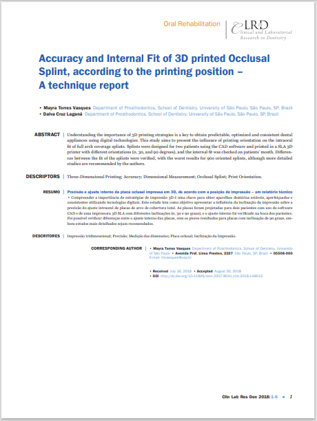 Accuracy and Internal Fit of 3D printed Occlusal Splint, according to the printing position – A technique report