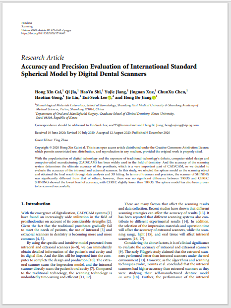 Accuracy and Precision Evaluation of International Standard Spherical Model by Digital Dental Scanners