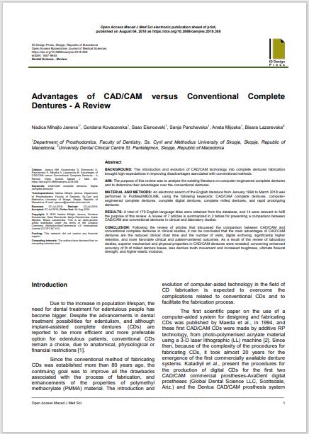 Advantages of CAD/CAM versus Conventional Complete Dentures - A Review
