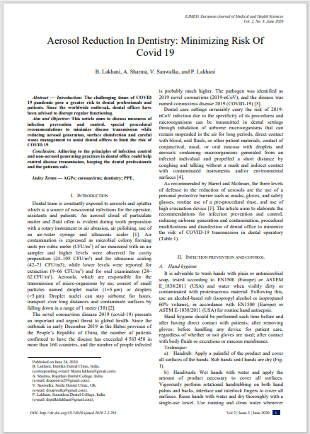 Aerosol Reduction In Dentistry: Minimizing Risk Of Covid 19