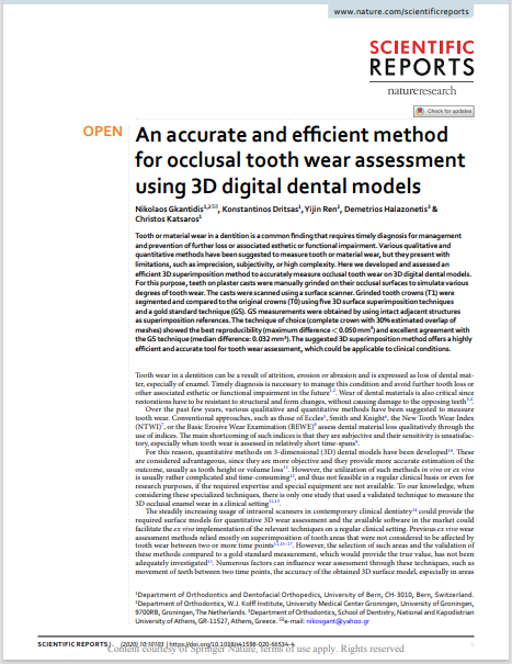 An accurate and efcient method for occlusal tooth wear assessment using 3D digital dental models
