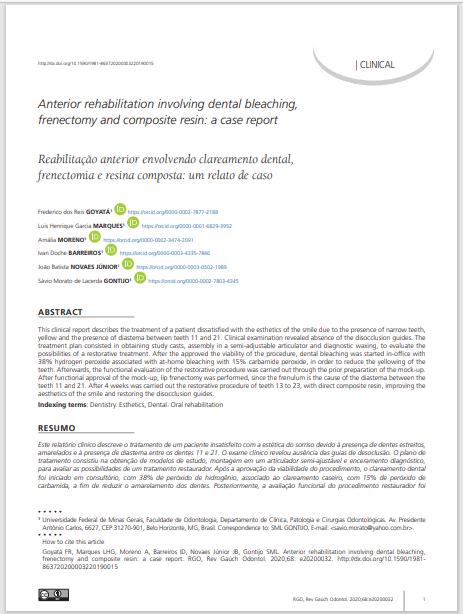 Anterior rehabilitation involving dental bleaching, frenectomy and composite resin: a case report