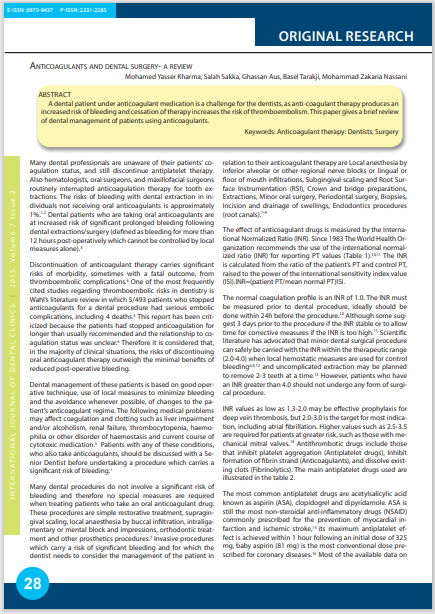 Anticoagulants and dental surgery- a review