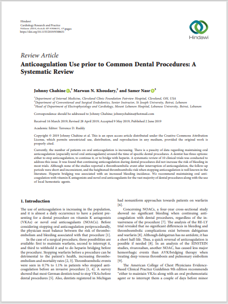 Anticoagulation Use prior to Common Dental Procedures: A Systematic Review