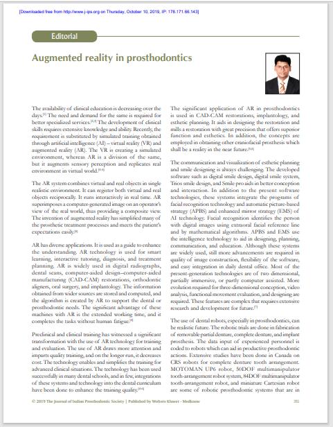 Augmented reality in prosthodontics