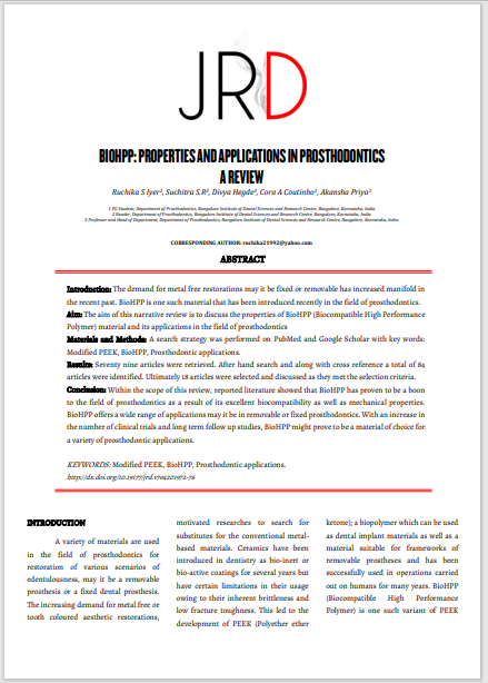 BIOHPP: PROPERTIES AND APPLICATIONS IN PROSTHODONTICS A REVIEW