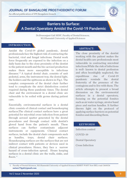 Barriers to Surface: A Dental Operatory Amidst the Covid-19 Pandemic