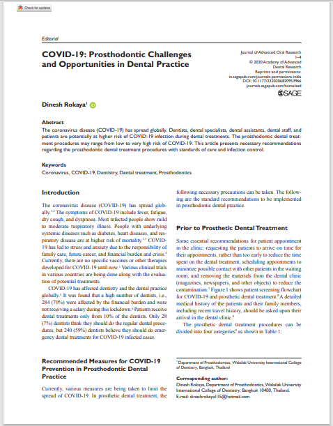 COVID-19: Prosthodontic Challenges and Opportunities in Dental Practice