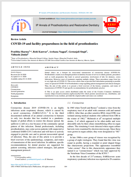COVID-19 and facility preparedness in the field of prosthodontics