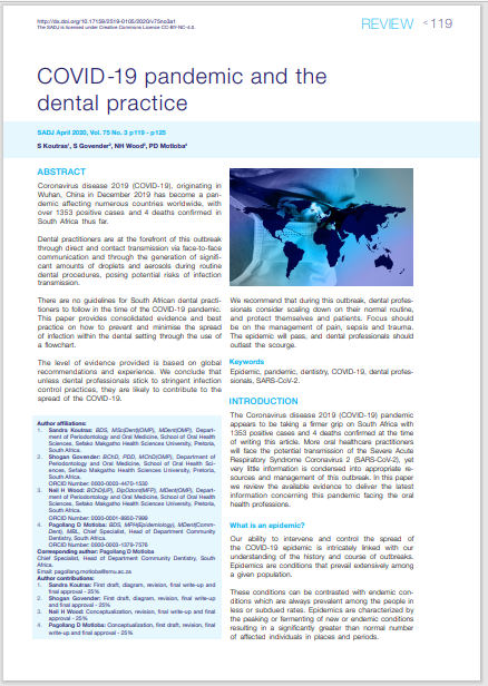 COVID-19 pandemic and the dental practice
