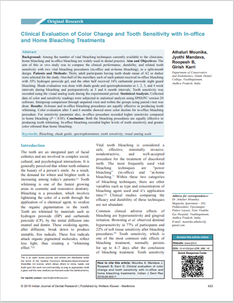 Clinical Evaluation of Color Change and Tooth Sensitivity with In‑office and Home Bleaching Treatments