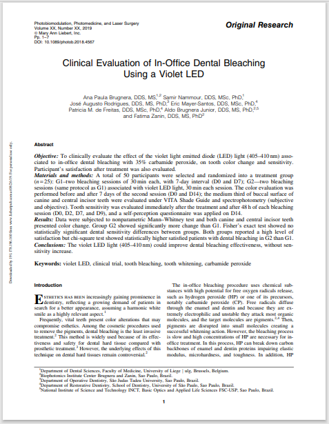 Clinical Evaluation of In-Office Dental Bleaching Using a Violet LED