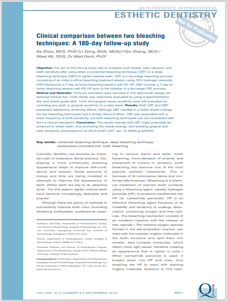 Clinical comparison between two bleaching techniques: A 180-day follow-up study