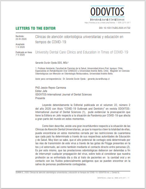 Clínicas de atención odontológica universitarias y educación en tiempos de COVID-19