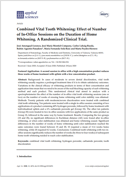 Combined Vital Tooth Whitening: Effect of Number of In-Office Sessions on the Duration of Home Whitening. A Randomized Clinical Trial.