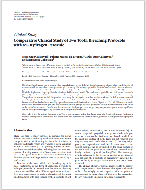 Comparative Clinical Study of Two Tooth Bleaching Protocols with 6% Hydrogen Peroxide