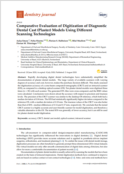 Comparative Evaluation of Digitization of Diagnostic Dental Cast (Plaster) Models Using Different Scanning Technologies