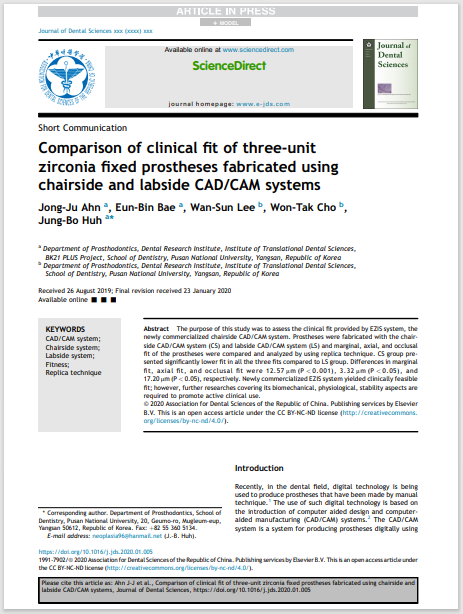Comparison of clinical fit of three-unit zirconia fixed prostheses fabricated using chairside and labside CAD/CAM systems