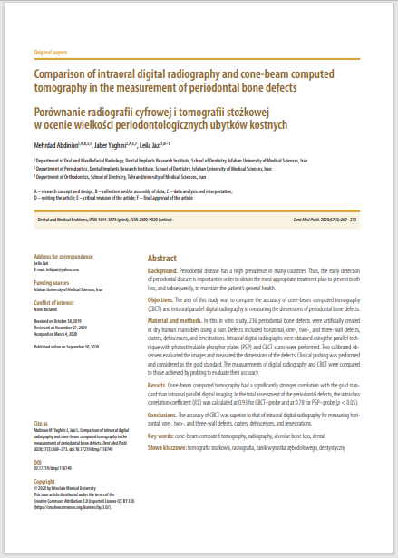 Comparison of intraoral digital radiography and cone-beam computed tomography in the measurement of periodontal bone defects