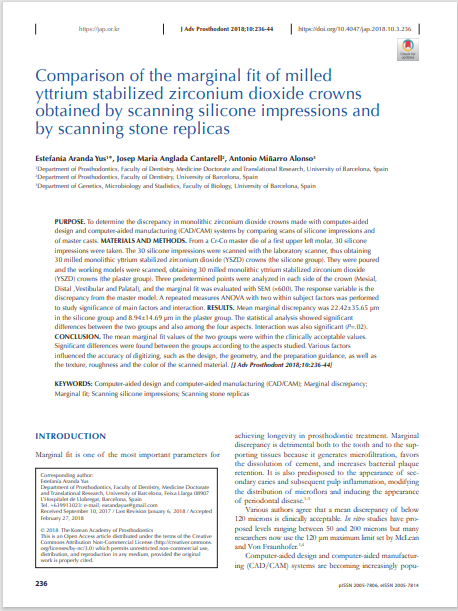Comparison of the marginal fit of milled yttrium stabilized zirconium dioxide crowns obtained by scanning silicone impressions and by scanning stone replicas