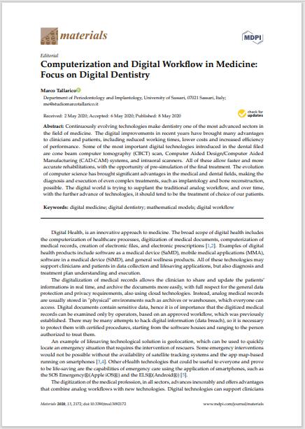 Computerization and Digital Workflow in Medicine: Focus on Digital Dentistry