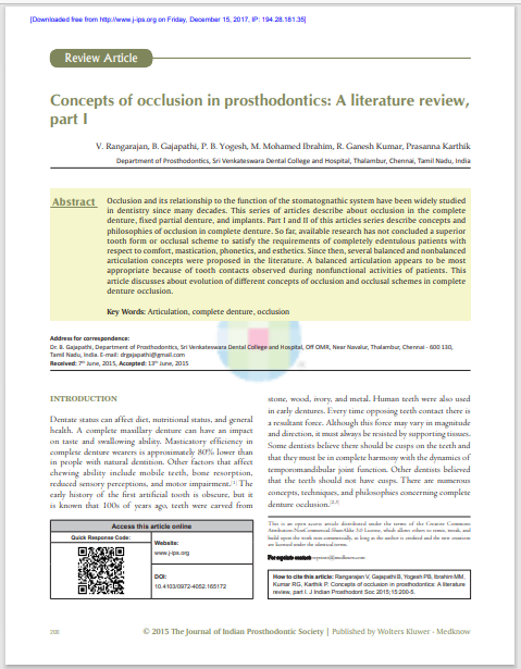 Concepts of occlusion in prosthodontics: A literature review, part I