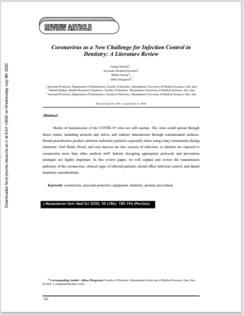 Coronavirus as a New Challenge for Infection Control in Dentistry: A Literature Review