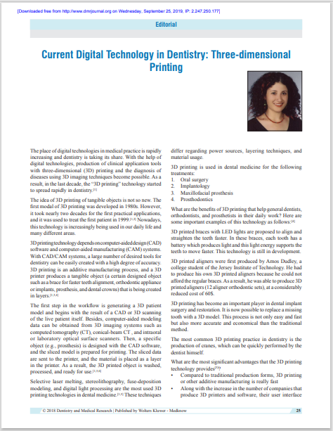 Current Digital Technology in Dentistry: Three‑dimensional Printing