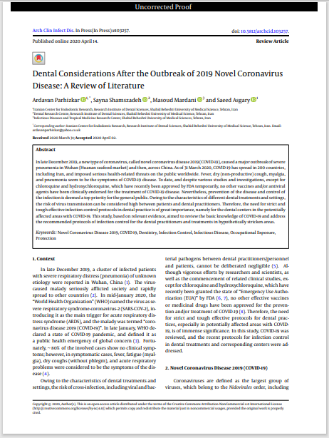 Dental Considerations After the Outbreak of 2019 Novel Coronavirus Disease: A Review of Literature