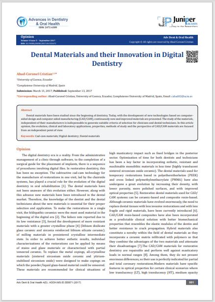 Dental Materials and their Innovation in Digital Dentistry