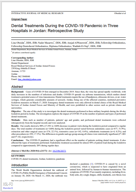 Dental Treatments During the COVID-19 Pandemic in Three Hospitals in Jordan: Retrospective Study
