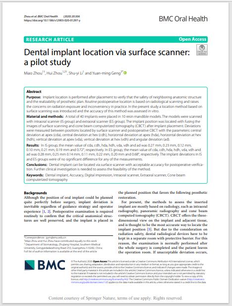 Dental implant location via surface scanner: a pilot study