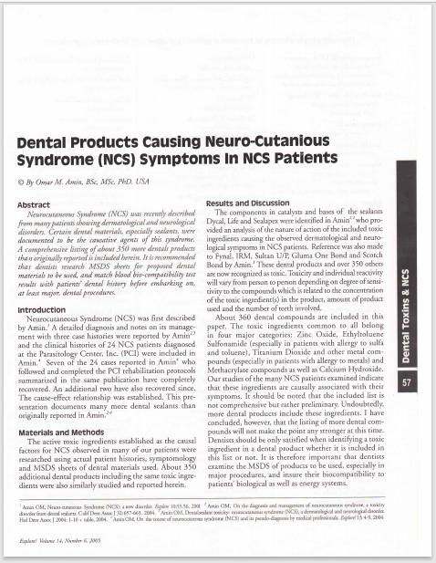 DentalProductsCausingNeuroCutaniousSyndrome (NCS) symptoms in NCS patients