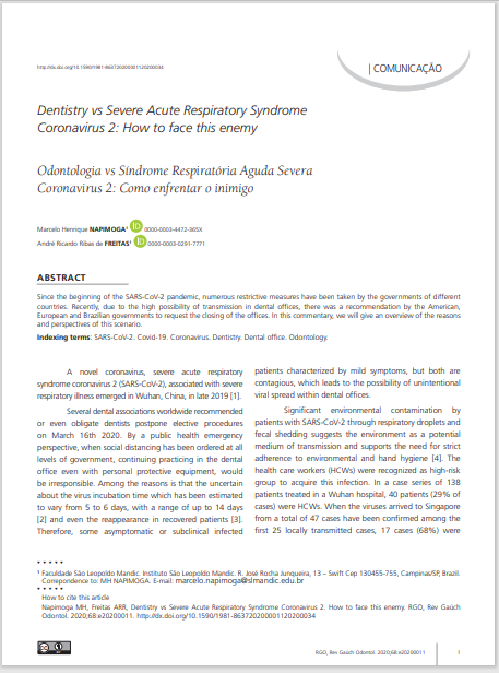 Dentistry vs Severe Acute Respiratory Syndrome Coronavirus 2: How to face this enemy