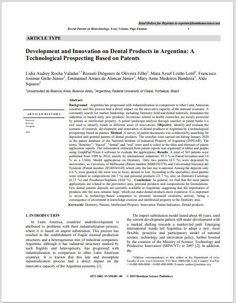 Development and Innovation on Dental Products in Argentina: A Technological Prospecting Based on Patents